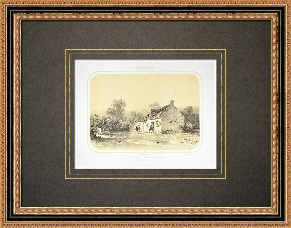 Antique Print & Etching | Ansicht von Saint-Ouën-des-Toits - Jean Chouan - Mayenne (Frankreich) | Lithografie | 1860