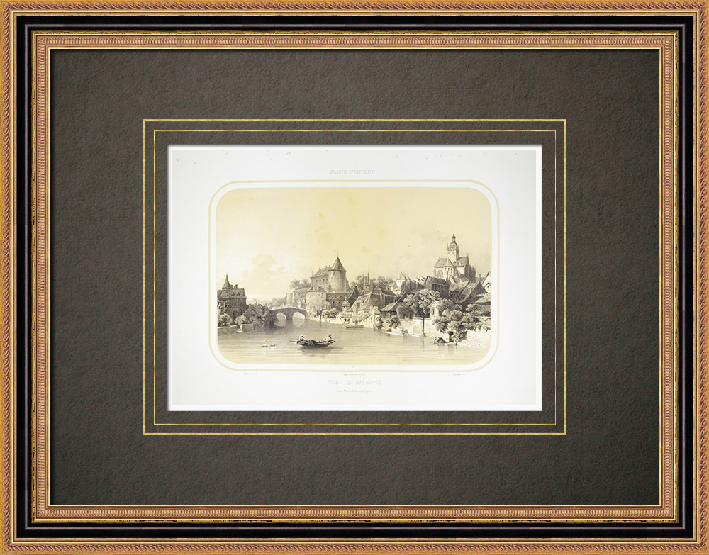 Antique Prints & Drawings | View of Mayenne - Carolingian Castle - Mayenne (France) | Lithography | 1860