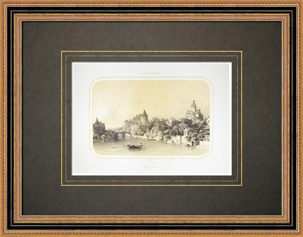 Stampe Antiche & Disegni | Veduta di Mayenne - Castello Carolingio - Mayenne (Francia) | Litografia | 1860