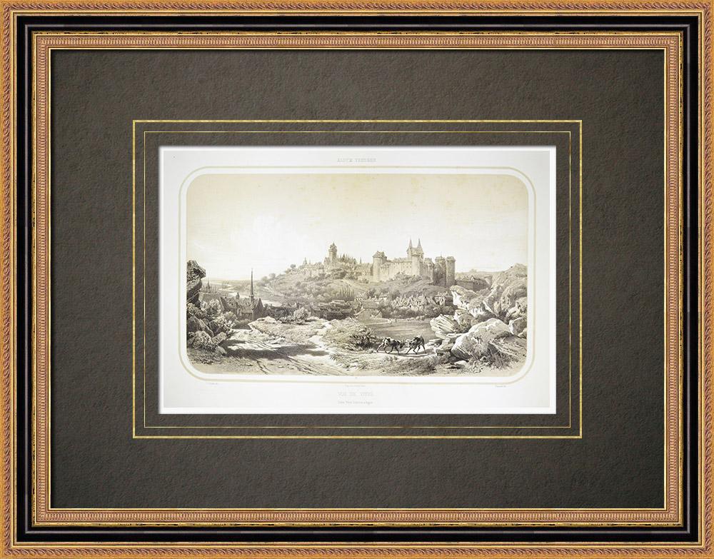 Antika Tryck & Ritningar | Vy över Vitré - Bretagne - Ille-et-Vilaine (Frankrike) | Litografi | 1860
