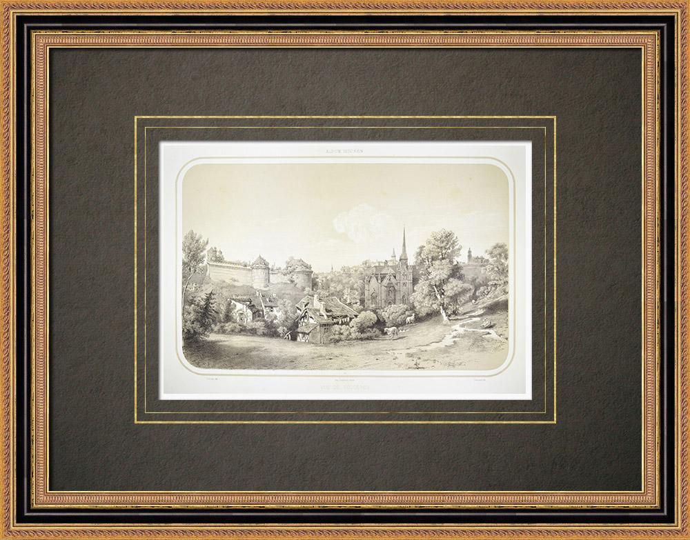 Stampe Antiche & Disegni | Veduta di Fougères - Castello - Chiesa St-Sulpice - Ille-et-Vilaine (Francia) | Litografia | 1860