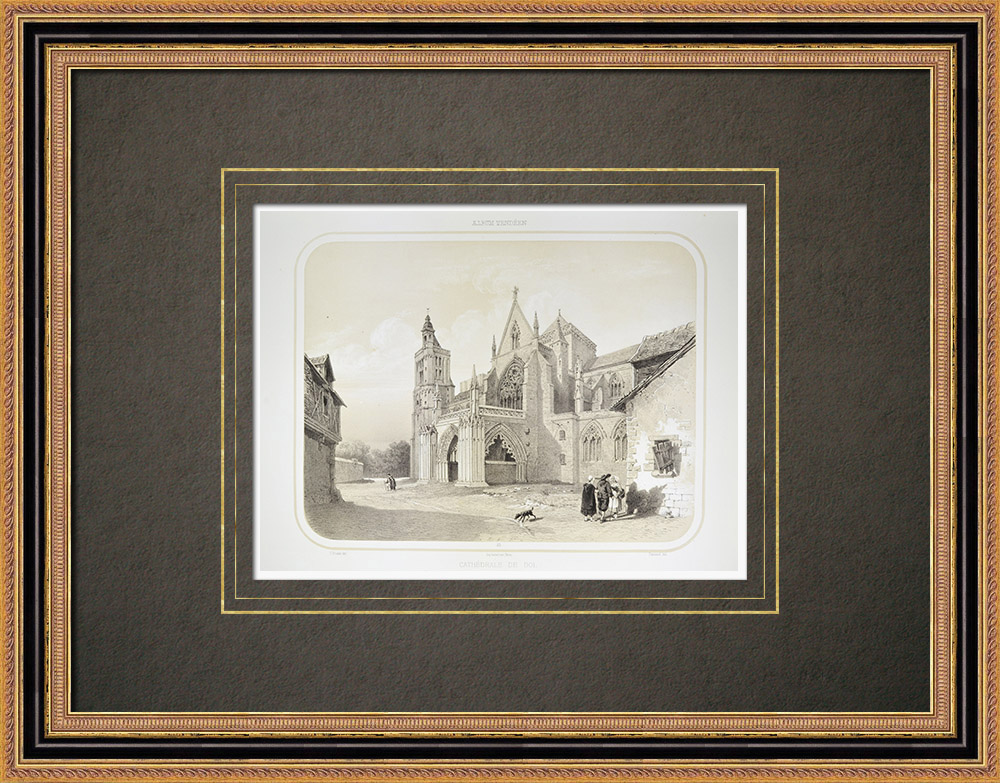 Stare Grafiki & Rysunki | Dol Katedra - Ille-et-vilaine (Francja) | Litografia | 1860