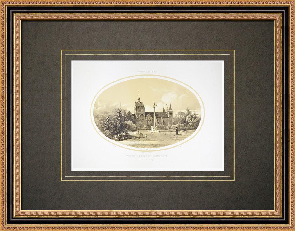 Stare Grafiki & Rysunki | Kościół z Pontorson - Dolna Normandia - Manche (Francja) | Litografia | 1860