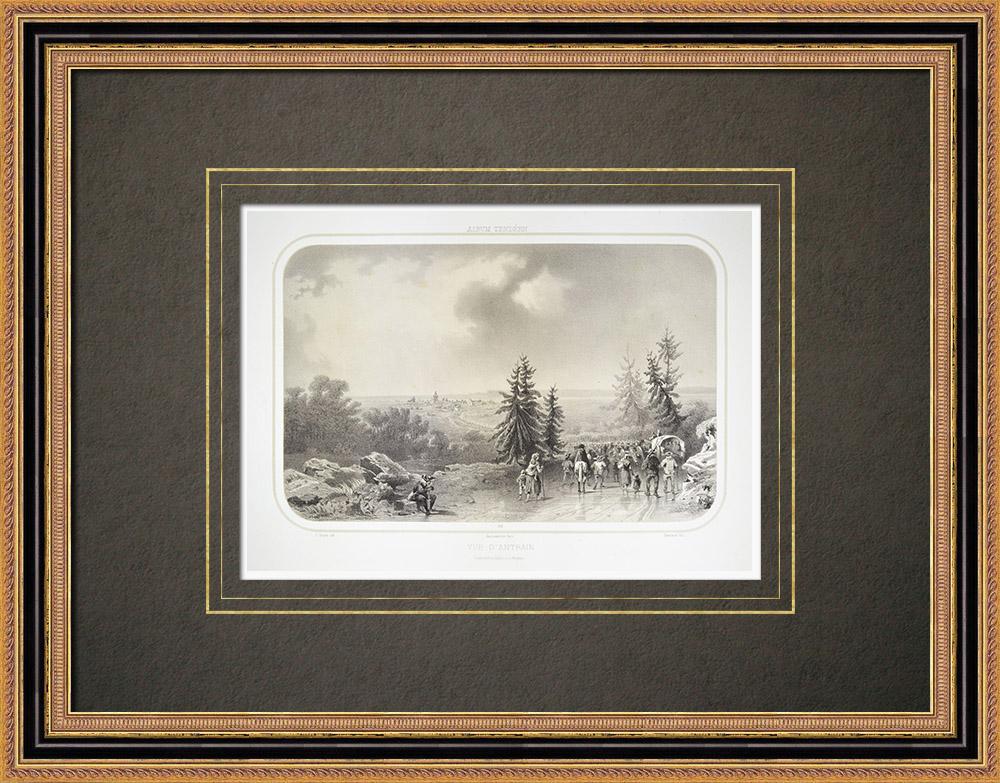 Oude Prenten & Tekeningen | Gezicht op Antrain - Bretagne - Ille-et-vilaine (Frankrijk) | Lithografie | 1860