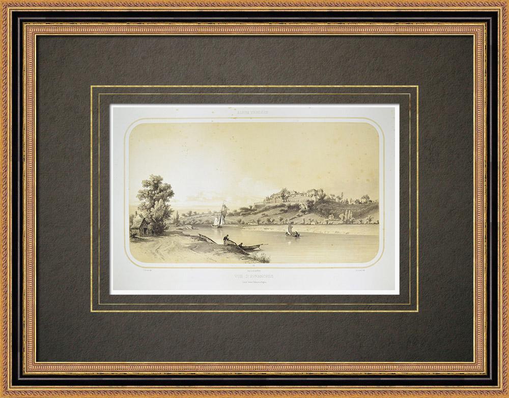 Antique Print & Etching | Ansicht von Avranches - Sée - Basse-Normandie - Manche (Frankreich) | Lithografie | 1860