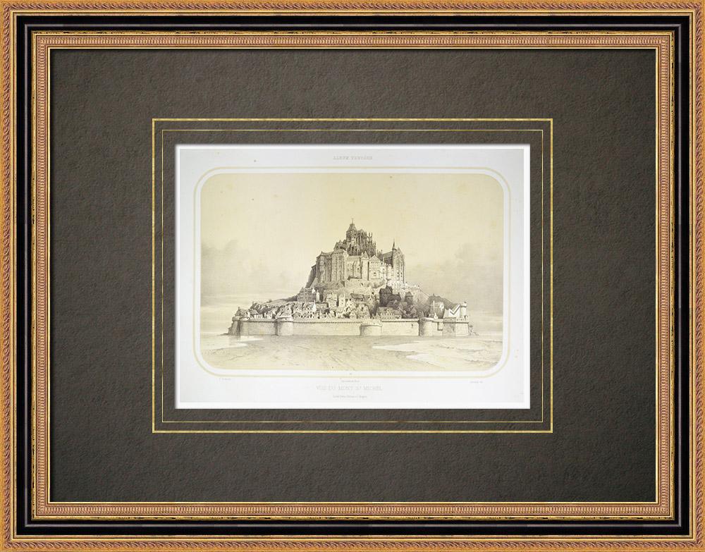 Grabados & Dibujos Antiguos | Vista de Monte Saint-Michel - Mont-Saint-Michel - Mancha (Francia) | Litografía | 1860