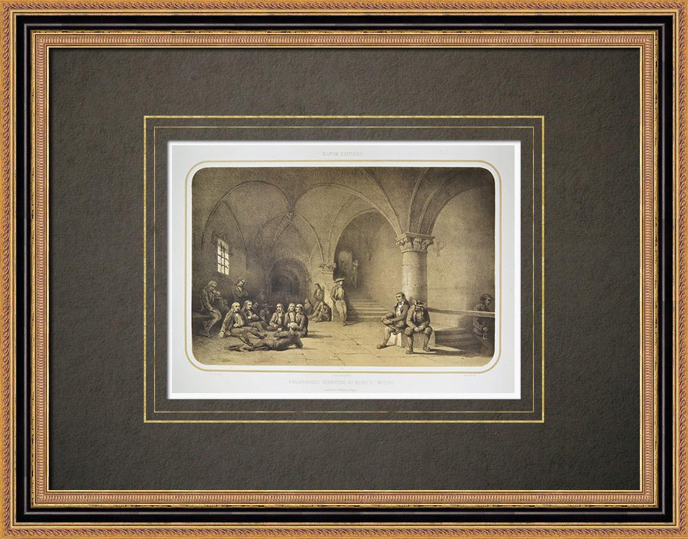 Gravures Anciennes & Dessins | Prisonniers vendéens au Mont Saint-Michel - Normandie - Manche (France) | Lithographie | 1860