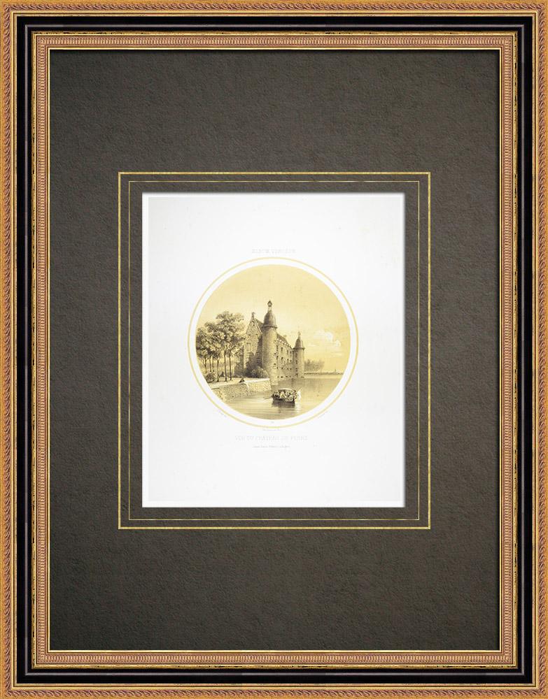 Antique Print & Etching   Schloss von Flers - Basse-Normandie - Orne (Frankreich)   Lithografie   1860