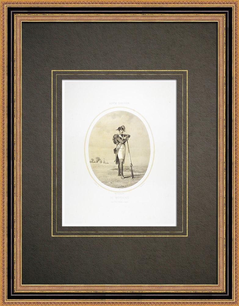 Oude Prenten & Tekeningen | Leger van Mainz - Oorlog in de Vendée - Militair Uniform (1793) | Lithografie | 1860