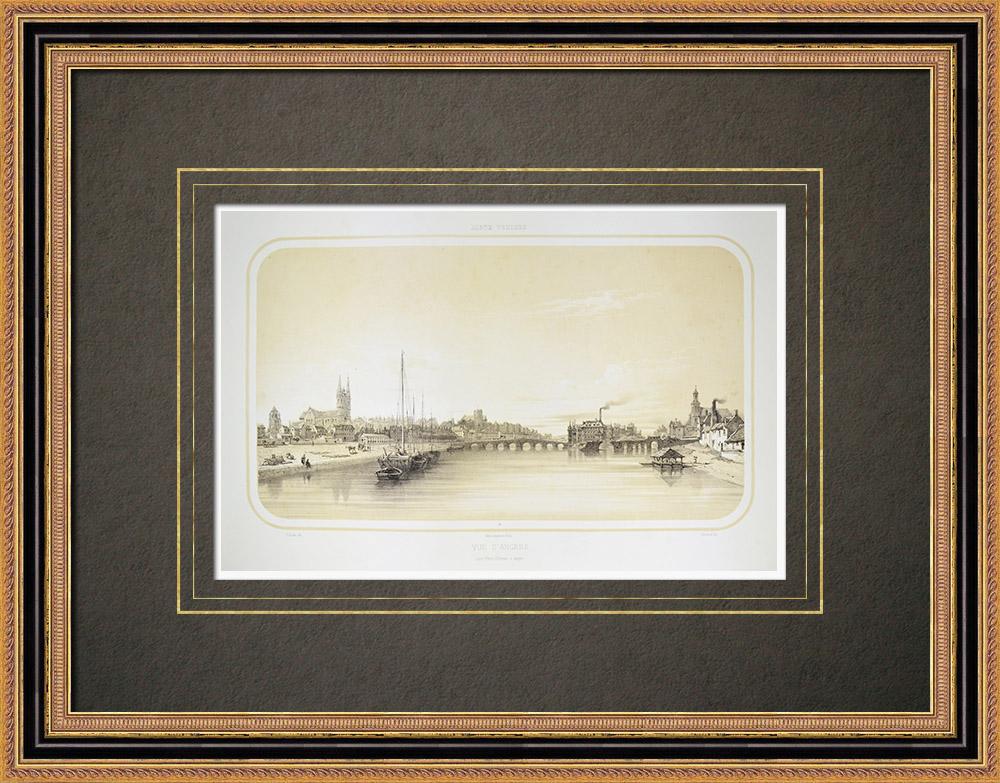 Oude Prenten & Tekeningen | Gezicht op Angers - Kathedraal - Maine - Maine-et-loire (Frankrijk) | Lithografie | 1860
