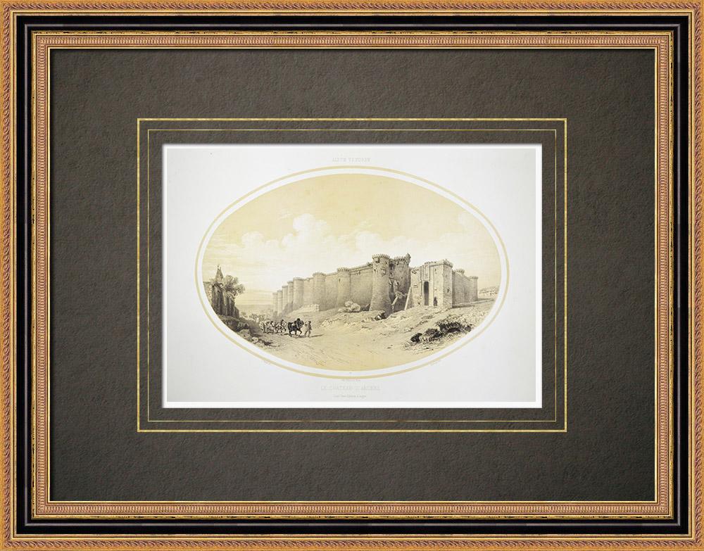Stare Grafiki & Rysunki | Zamek w Angers - Anjou - Maine-et-loire (Francja) | Litografia | 1860