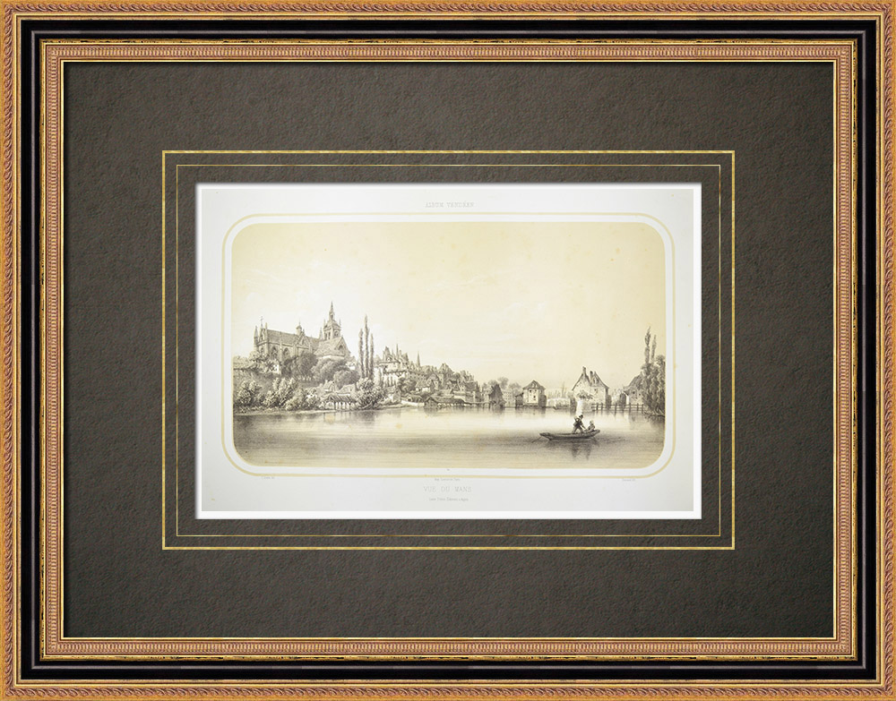 Antique Prints & Drawings | View of Le Mans - Cathedral - Sarthe (France) | Lithography | 1860