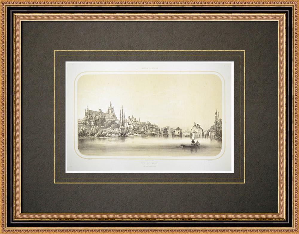 Stare Grafiki & Rysunki | Widok le Mans - Katedra - Sarthe (Francja) | Litografia | 1860