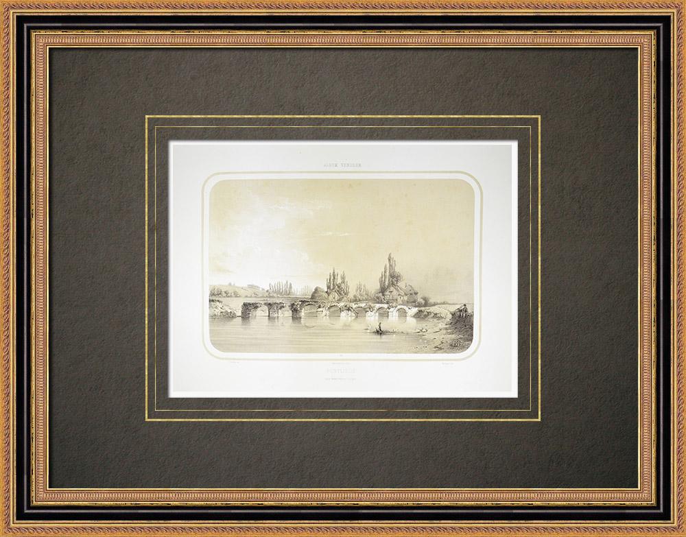 Antique Print & Etching   Brücke in Pontlieue - Huisne - Sarthe (Frankreich)    Lithografie   1860