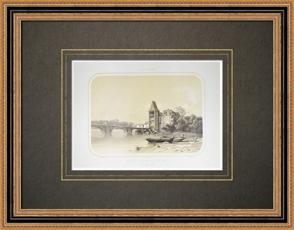 Grabados & Dibujos Antiguos | Vestigios del castillo de la Flèche - Río Loir - Sarthe (Francia)  | Litografía | 1860