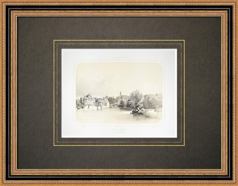 Antique Prints & Drawings | View of Segré - Oudon - Maine-et-Loire (France) | Lithography | 1860