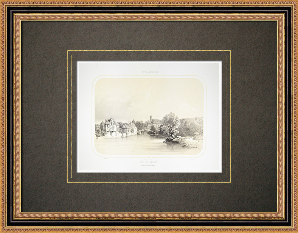 Antika Tryck & Ritningar | Vy över Segré - Oudon - Maine-et-Loire (Frankrike) | Litografi | 1860