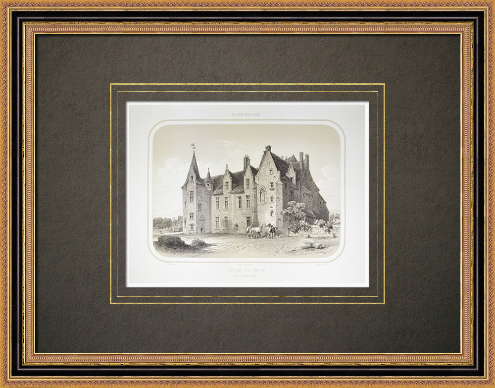 Antique Prints & Drawings | Baugé Castle - René of Anjou - Maine-et-Loire (France)  | Lithography | 1860