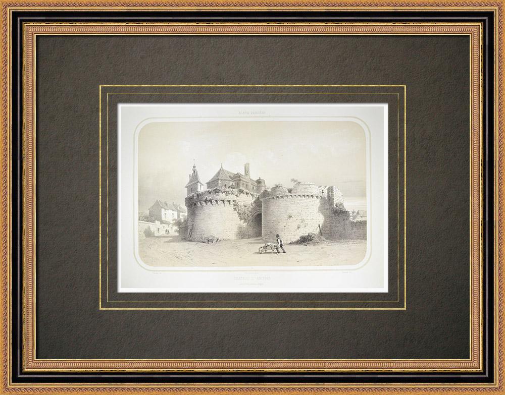 Antique Prints & Drawings   Ancenis Castle - Loire-Atlantique (France)    Lithography   1860