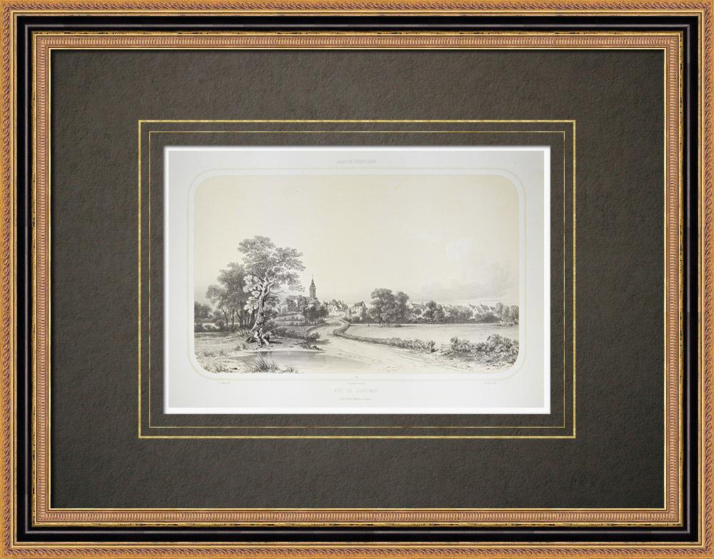 Gravures Anciennes & Dessins | Vue de Savenay - Pays de la Loire - Loire-Atlantique (France) | Lithographie | 1860