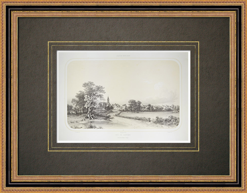 Oude Prenten & Tekeningen | Gezicht op Savenay - Pays de la Loire - Loire-atlantique (Frankrijk) | Lithografie | 1860