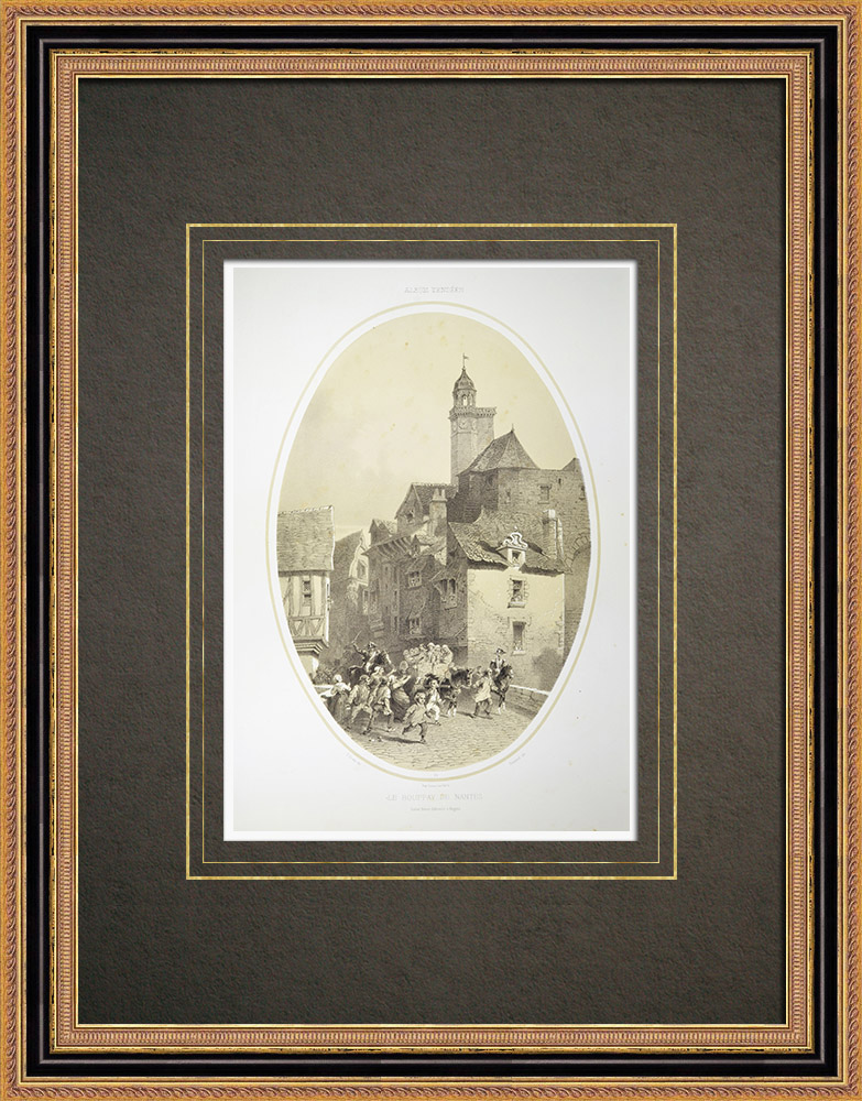 Gravures Anciennes & Dessins | Le Bouffay de Nantes - Prison du Bouffay - Loire-Atlantique (France) | Lithographie | 1860