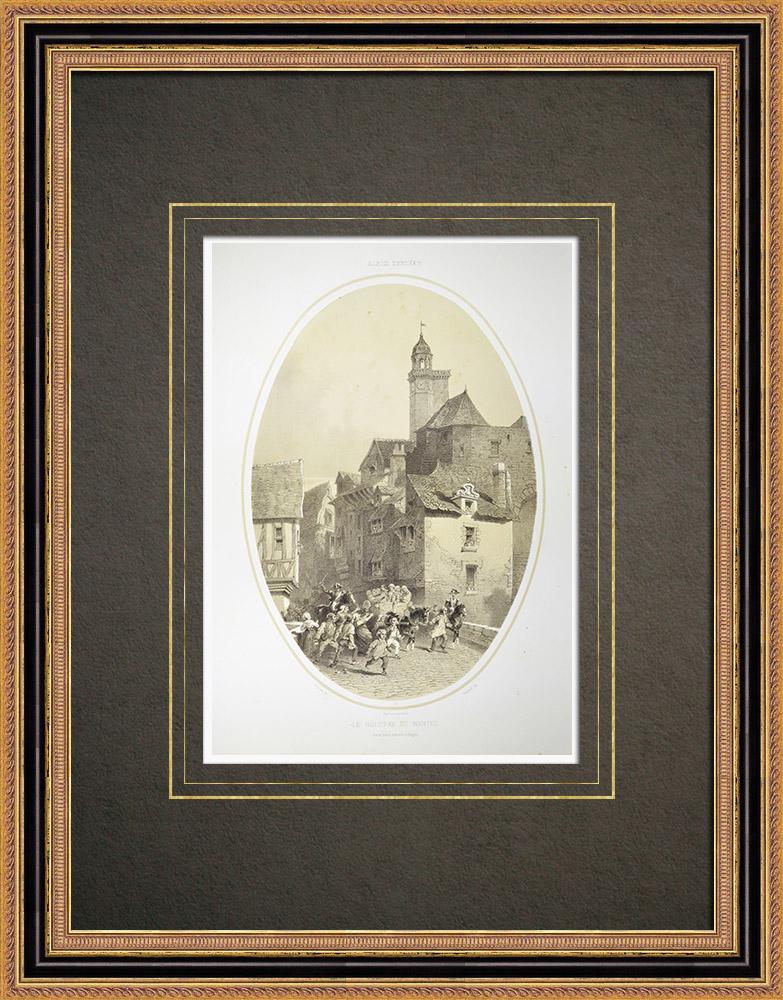 Antika Tryck & Ritningar | Le Bouffay i Nantes - Anstalt - Loire-Atlantique (Frankrike) | Litografi | 1860