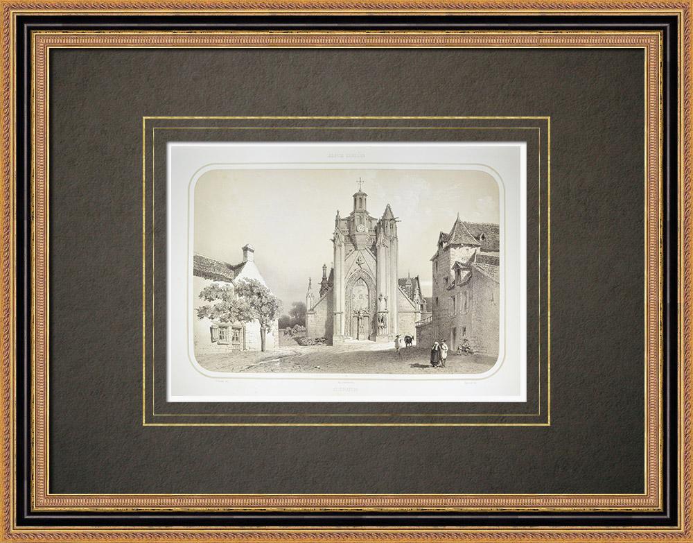 Grabados & Dibujos Antiguos | Iglesia de Guérande - Loira Atlántico (Francia) | Litografía | 1860