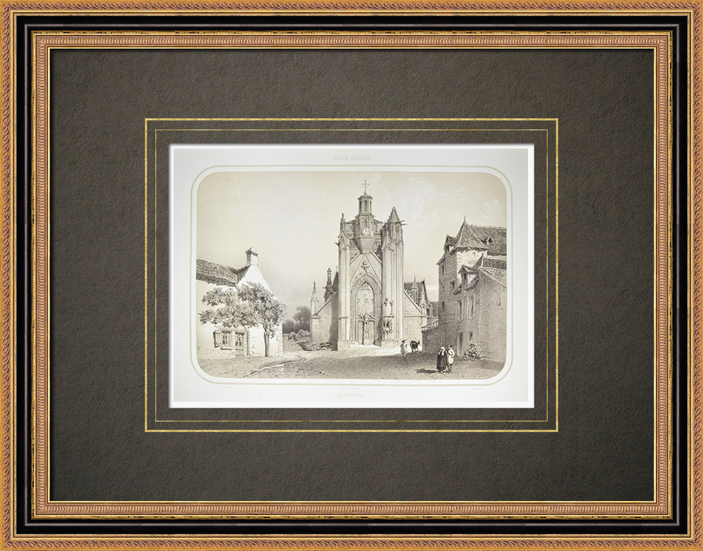 Antika Tryck & Ritningar | Kyrka i Guérande - Loire-Atlantique (Frankrike) | Litografi | 1860