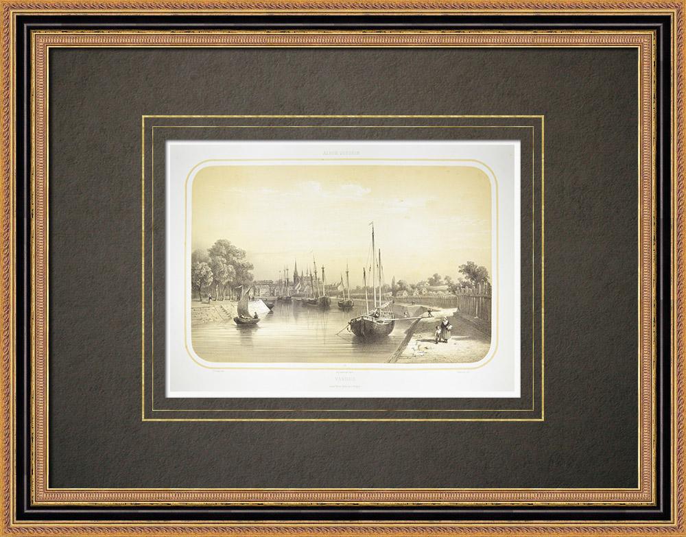 Oude Prenten & Tekeningen | Gezicht op Vannes - Bretagne - Morbihan (Frankrijk) | Lithografie | 1860