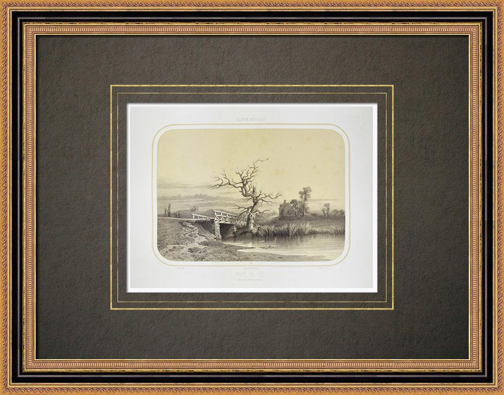 Gravures Anciennes & Dessins | Pont du Loc - Bretagne - Morbihan (France) | Lithographie | 1860