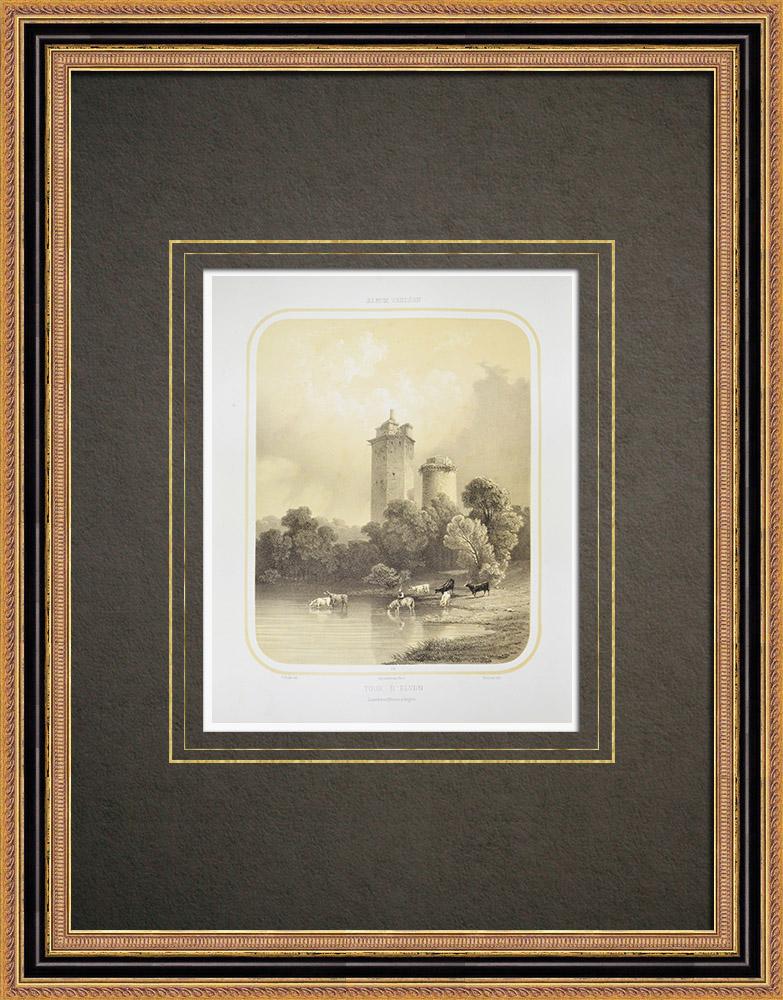Grabados & Dibujos Antiguos | Torres d'Elven - Castillo de Largoët - Bretaña - Morbihan (Francia) | Litografía | 1860