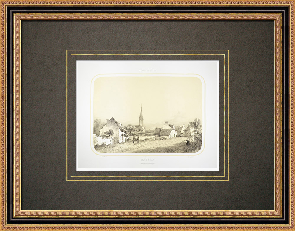 Antique Prints & Drawings | View of Grand-Champ - Brittany - Morbihan (France) | Lithography | 1860