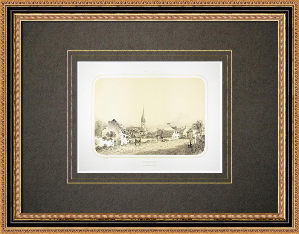 Stare Grafiki & Rysunki | Widok Grand-champ - Bretania - Morbihan (Francja) | Litografia | 1860