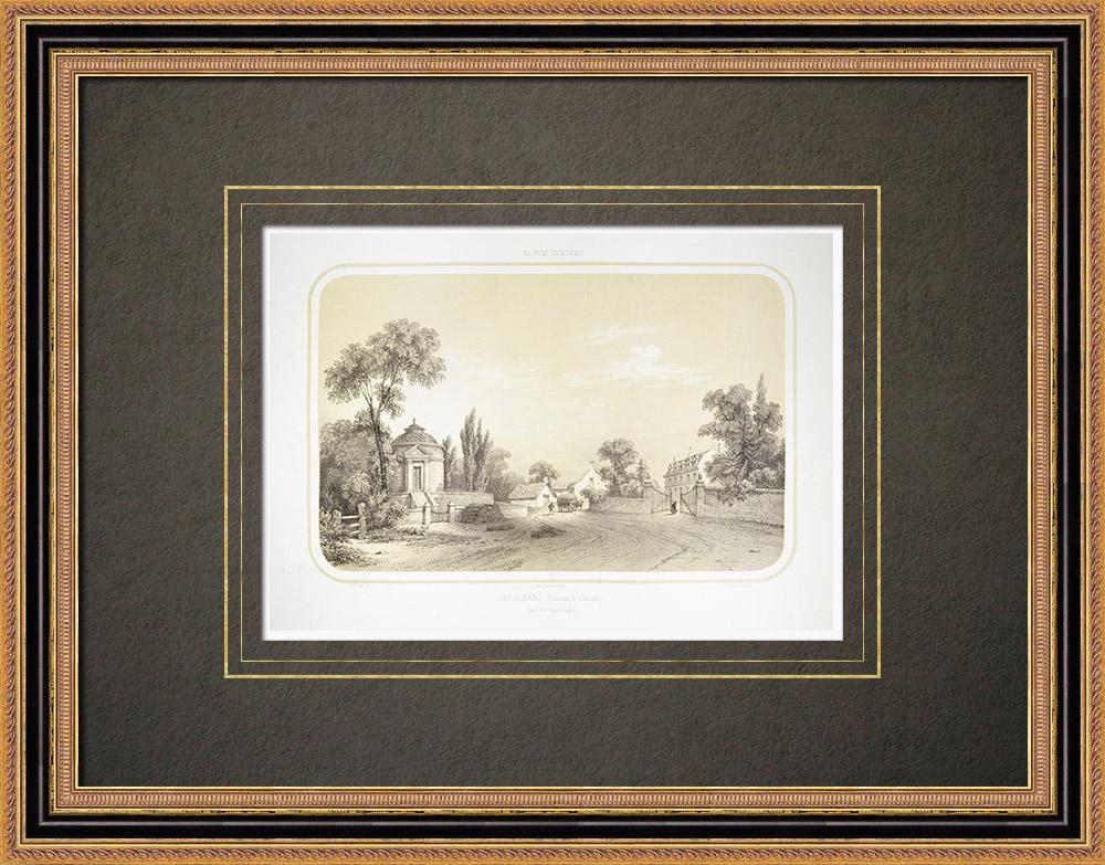 Antique Print & Etching | Grab von Cadoudal in Kerleano - Auray - Bretagne - Morbihan (Frankreich) | Lithografie | 1860