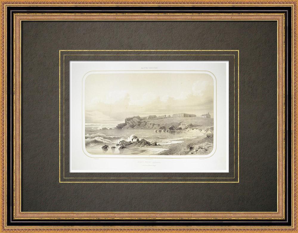 Gravures Anciennes & Dessins | Vue du Fort Neuf - Quiberon - Bretagne - Morbihan (France) | Lithographie | 1860