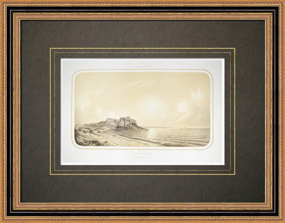 Antique Prints & Drawings | Fort Penthièvre - Saint-Pierre-Quiberon - Morbihan (France) | Lithography | 1860