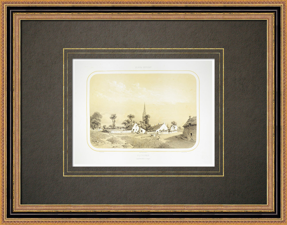 Antique Prints & Drawings | View of Pluvigner - Brittany - Morbihan (France) | Lithography | 1860