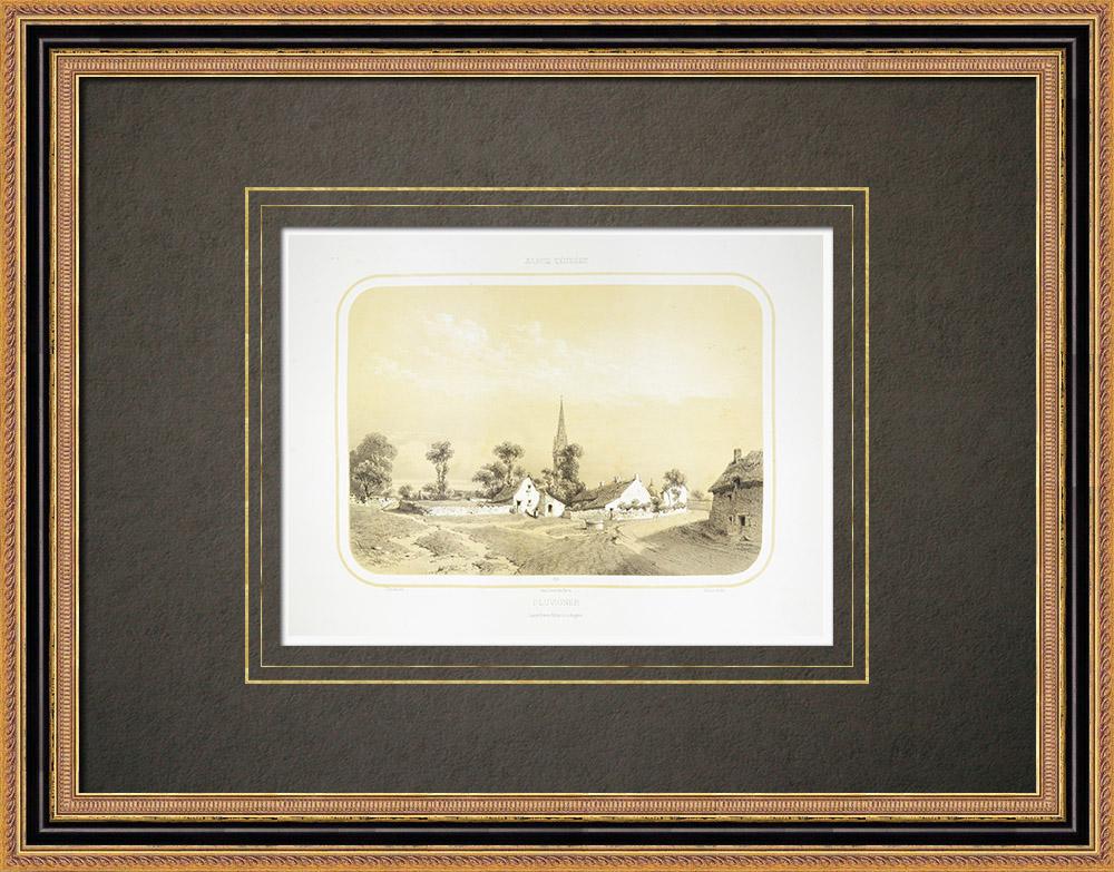 Antika Tryck & Ritningar | Vy över Pluvigner - Bretagne - Morbihan (Frankrike) | Litografi | 1860