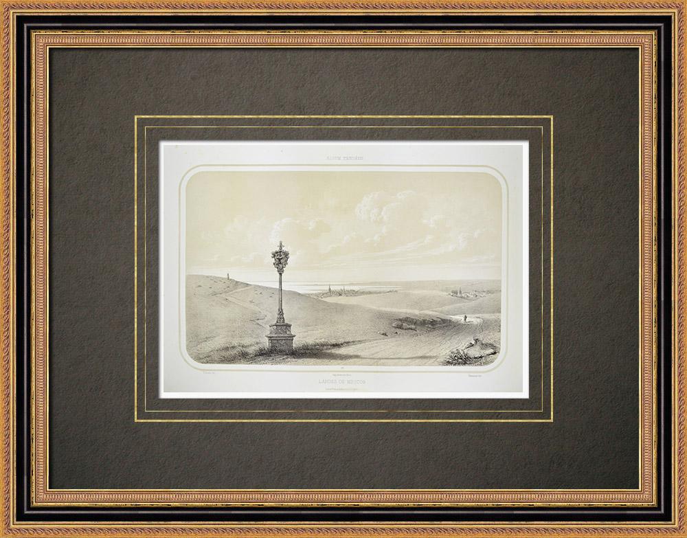Grabados & Dibujos Antiguos | Vista de Meucon - Morbihan (Francia) | Litografía | 1860