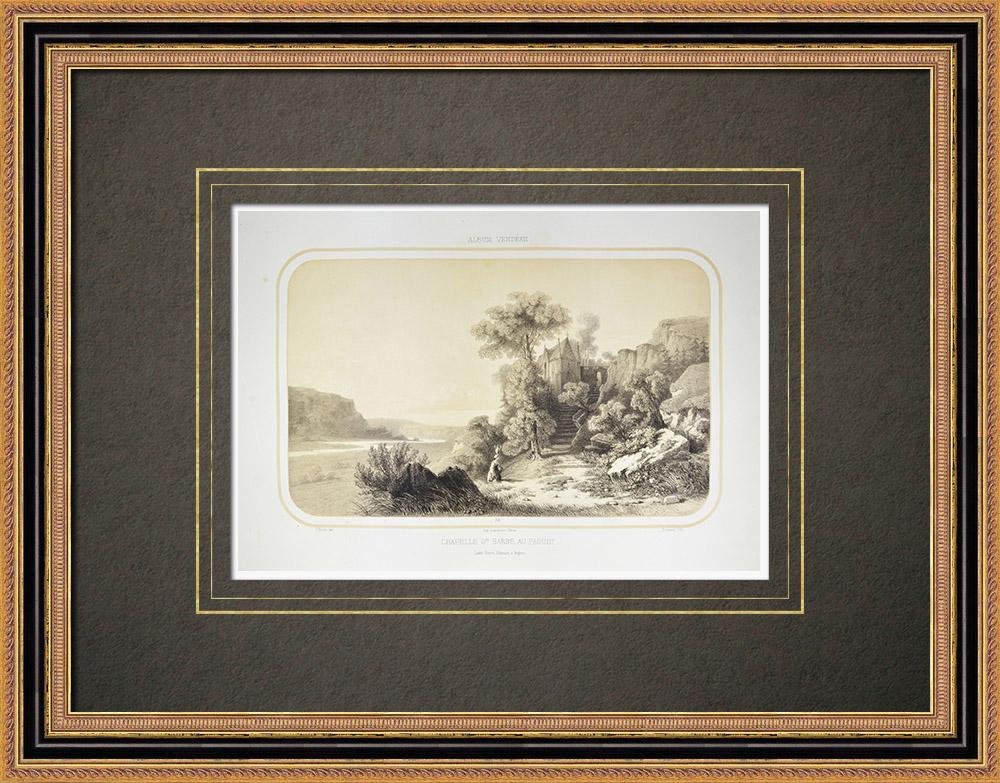 Oude Prenten & Tekeningen   Kapel Sainte-barbe in le Faouët - Morbihan (Frankrijk)   Lithografie   1860