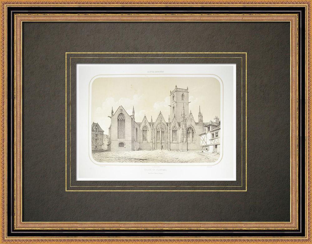 Oude Prenten & Tekeningen | Kerk van Ploërmel - Morbihan (Frankrijk) | Lithografie | 1860