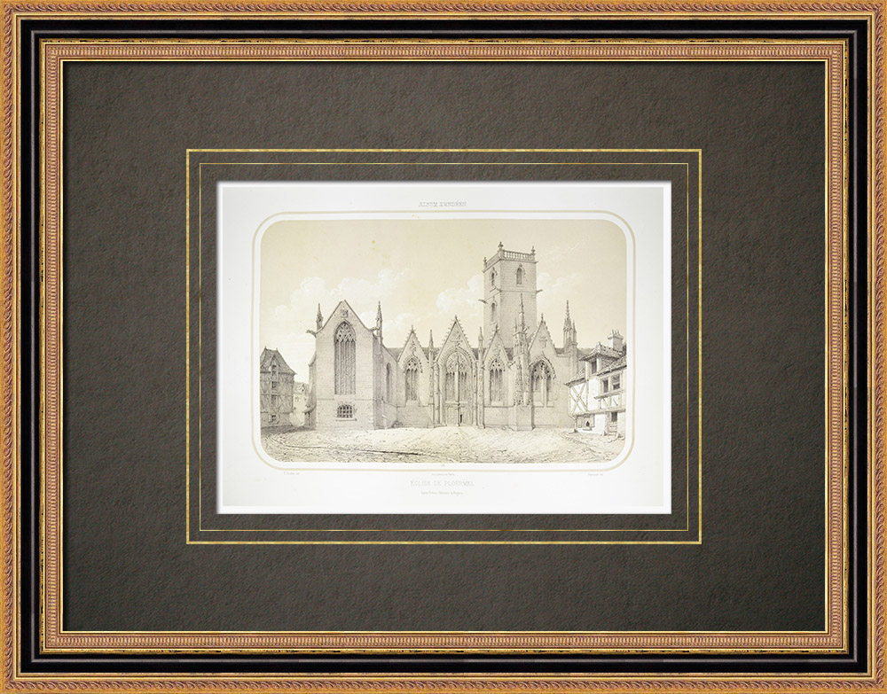 Stare Grafiki & Rysunki | Kościół z Ploërmel - Morbihan (Francja) | Litografia | 1860