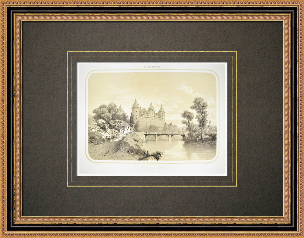 Gravuras Antigas & Desenhos | Castelo de Josselin - Bretanha - Morbihan (França)  | Litografia | 1860