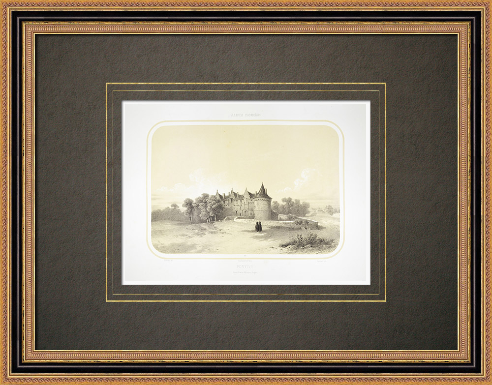 Antique Print & Etching | Schloss von Pontivy - Morbihan - Bretagne (Frankreich) | Lithografie | 1860