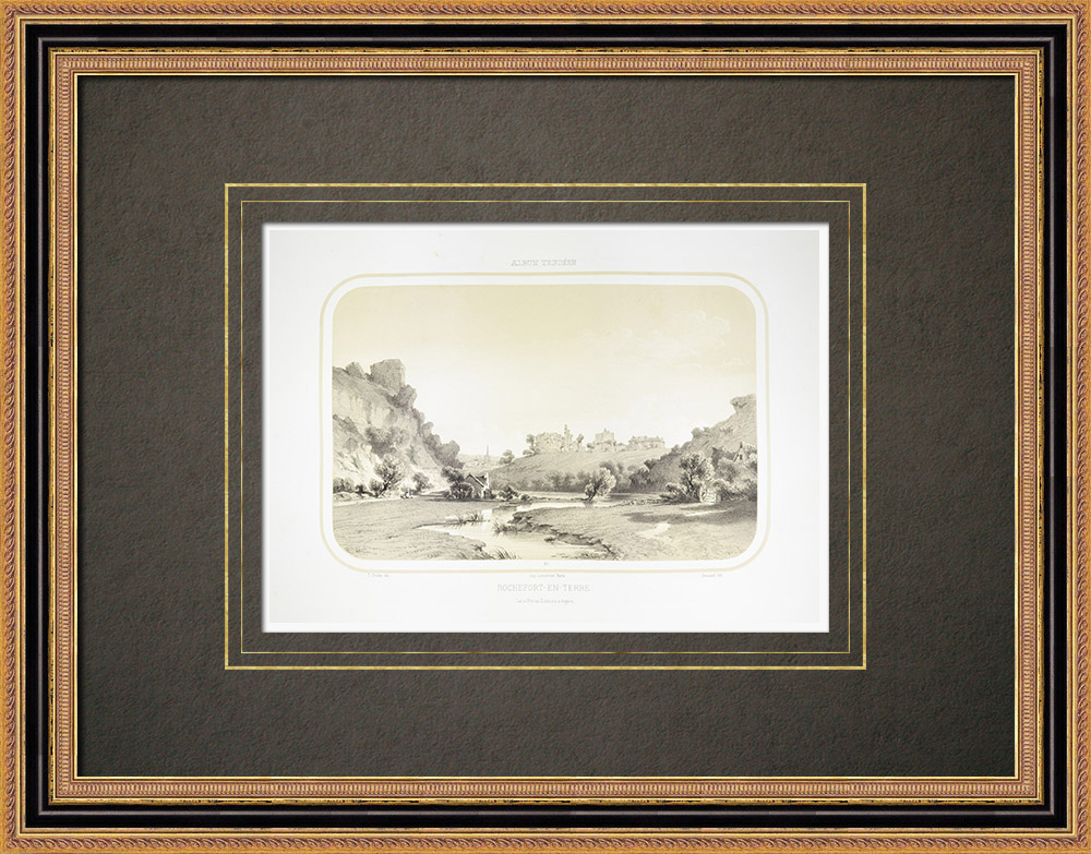 Antique Prints & Drawings   View of Rochefort-en-Terre - Morbihan - Brittany (France)   Lithography   1860