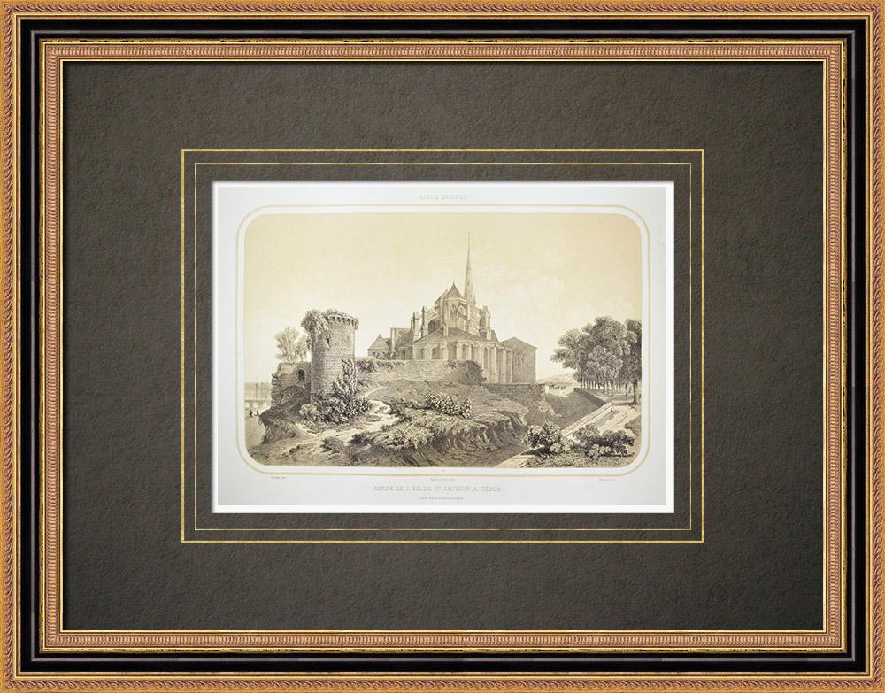 Gravures Anciennes & Dessins | Abbatiale Saint-Sauveur de Redon - Ille-et-Vilaine (France) | Lithographie | 1860