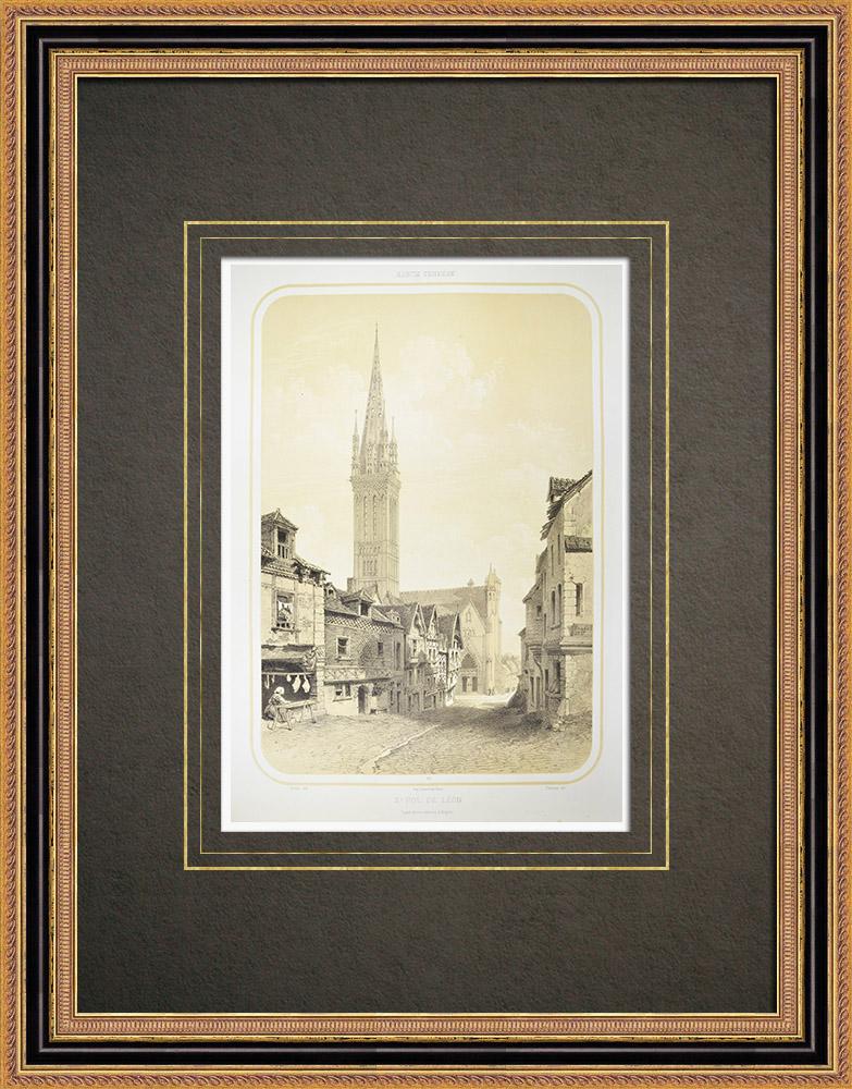 Gravures Anciennes & Dessins | Vue de Saint-Pol-de-Léon - Clocher de Notre-Dame du Kreisker - Finistère (France) | Lithographie | 1860