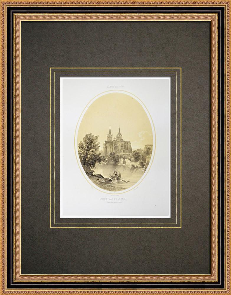Gravuras Antigas & Desenhos | Catedral de Quimper - Finistère - Bretanha (França) | Litografia | 1860