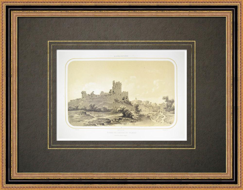 Antique Print & Etching | Ruinen des Talmont Burg - Pays de la Loire - Vendée (Frankreich) | Lithografie | 1860